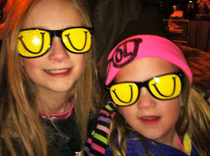 Olivia and Alaina Austin in their LaughFest sunglasses.