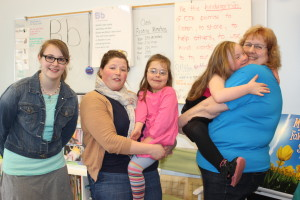 The CTA team of teachers supporting the kindergarten class and two students with Down syndrome. (L to R) Sarah Classen, special education teacher; Lauren Bostic, kindergarten teacher and award recipient; Grace Middlebrook, student; Adyson Merritt, student; Susan VanEnk, teacher aide.