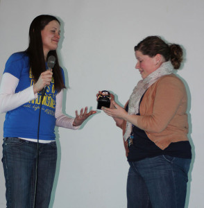 Meredith Lange of the Down Syndrome Association of West Michigan presented Lauren Bostic with the Educator of the Year Award.