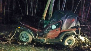 This Jeep Wrangler crossed the centerline and struck a tree in Spencer Township. Photo from Woodtv.com.