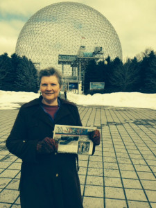 Tammy Norris with The Post in front of the Bucky Ball.