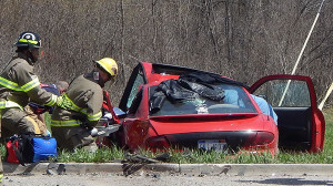 The driver of this car was extricated from the vehicle after a crash Tuesday in Solon Township. Post photo by L. Allen.