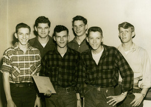 Front row: (L to R) Jerry Bergman, Bob Duschane, James Plite. Back row: (L to R) Charlie Northup, Harvey Scheck, Don Roberts. These six Sand Lake graduates enlisted in the U.S. Army, in October 1950, during the Korean War. This picture was in the G.R. Press with a story of small town friends enlisting together. All six went to Camp McCoy, Wisconsin, for basic training. Afterward two were sent to Korea, one to Japan, two to Germany, and one remained at Camp McCoy. The six were discharged in October 1952, found jobs, and were married in the summer of 1953. Four couples were married for 50 years or more, and two couples lost their spouses early on in their marriages. Not a divorce among them!
