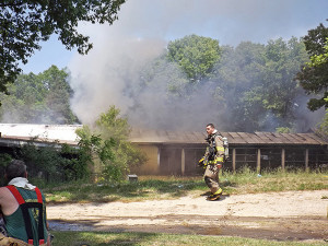 The fire started in the back and worked its way through the building. Post photo by J. Reed.