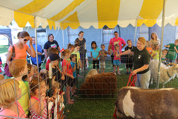 Cindy Karafa, from Double K Farms, talks to the children about the animals.