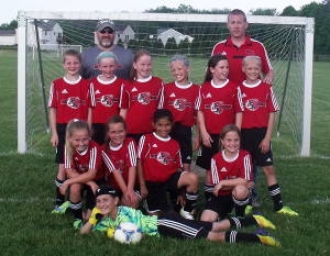 Front: Elizabeth Fettig  Middle: Left to right: Brandy Singleton, Lily Briggs, Andrea Rios, Darrah Miller. Back Row: Loren Riddle, Makenna Outwin, Olivia Hearth, Ali Carlson, Emma Cassiday, Mia Joppich Assistant Coach Pete Singleton (Gray), Head Coach Ryan Outwin (Red)