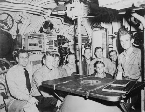 Jack B. Weinstein, far left, with fellow officers on the submarine USS Jalloa.