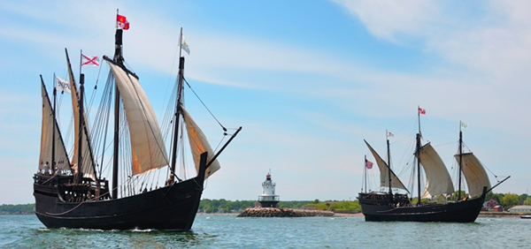 Replicas of the ships that Christopher Columbus sailed—the Nina (left) and Pinta (right) will dock at Heritage Landing in Muskegon next week. Photo from the Columbus Foundation, British Virgin Islands.