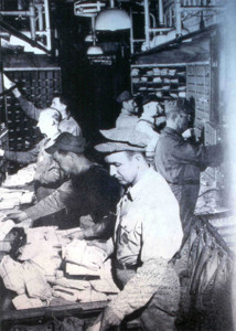 Sorting mail for the Railway Mail Service. Photo courtesy the Cedar Springs Historical Society.