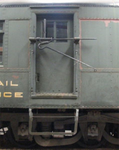 Detailed view of the mail hook on CBQ 1926, a RPO preserved at the Illinois Railway Museum. Photo courtesy the Cedar Springs Historical Society.