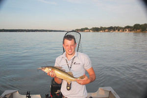Eric Payne with a walleye caught near the pier in Holland