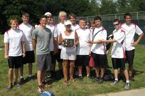 Red Hawk tennis team with first place trophy.