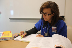 Debbie Robles, recipient of the Hospice of Michigan Second Degree-Second Career Nursing Scholarship, prepares for her nurse licensure exam and a new career in hospice and palliative care.