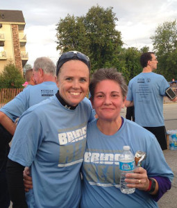 Shila Kiander (right) and Leslie Cardinal (left) after the Mackinac Bridge Run. Shila was one of several fitness ambassadors in the race.
