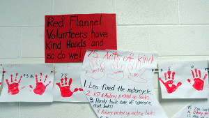 Rhonda Bellamy's class listed 75 acts of kindness on Red Flannel long johns and a nightgown to celebrate the 75th anniversary of the Red Flannel Festival. Courtesy photo.