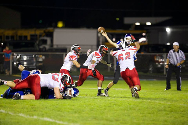 The Red Hawk Defense hard at work in Sparta. Photo By Kelly Alvesteffer.