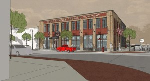 Conceptual rendering of front and side view of Cedar Springs Brewing Company.