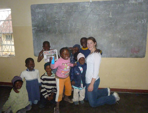 Esther Couturier at the orphanage in Zimbabwe.