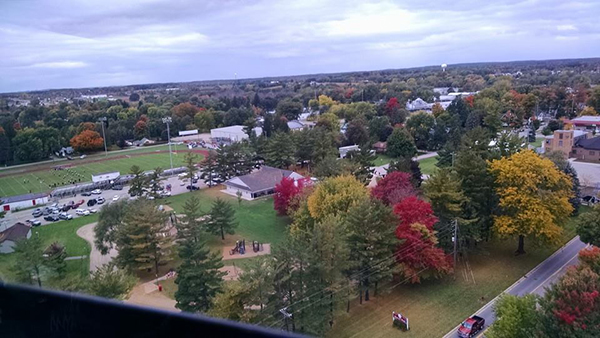 This photo was taken by Natalie Kieda as she rode in the helicopter over the town on Red Flannel Day last Saturday.