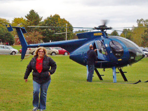 Natalie Kieda won a complimentary helicopter ride on Red Flannel Day.