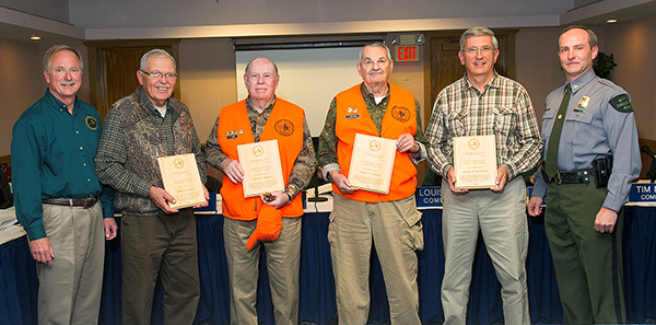 Pictured here are just four of the more than 40 hunting education instructors statewide honored for 40 years of volunteer service. Pictured (L to R) are DNR Director Keith Creagh; instructor James Johnson, Houghton Lake; instructor John Seelman, North Muskegon; instructor David Hansen, Cedar Springs; instructor Joseph Primozich, Pentwater; and DNR Law Enforcement Division Chief Gary Hagler.