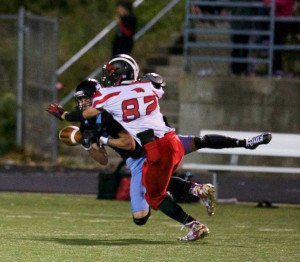Lane Gott on the tackle for the Red Hawks. Photo by K. Alvesteffer.