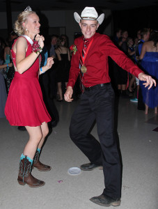 King Justin Davis and Queen Bayley Wolfe showing off their dance skills