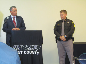 Sheriff Larry Stelma (left) introduces Sgt. Jason Kelley (right), who will be in charge of the Cedar Springs unit. Post photo by J. Reed.