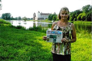 Barb Groth at Mir Castle in Belarus.