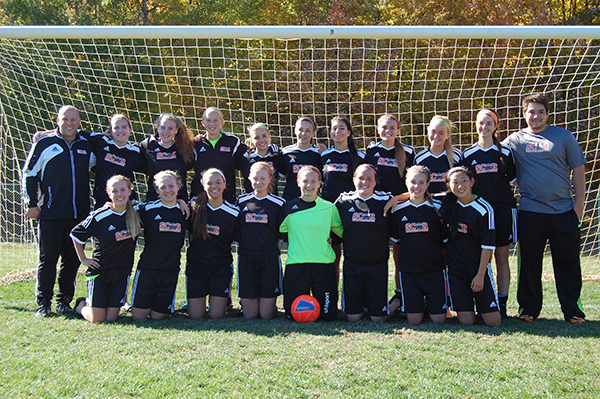 Back row (left to right):  Asst. Coach John Harpst, Allison Spagnola, Madison Bartula, Makenzie Webb, Kaitlyn Olson, Mary Harpst, Sydney Korody, Missy Walczewski, Chloe Wolfe, Megan Dreyer, Coach Dillon Li. Front row (left to right):  Meghan Thelen, Amanda Mortimore, Danielle Pellerito, Jacquelyn Vickery, Kenna Allen, Ginger Dean, Maddie Thelen, Kate Brock