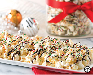 Red and green sprinkles, chocolate and popcorn make a happy winter treat.