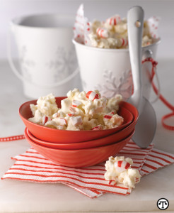 White chocolate and peppermint plus popcorn can bring warmth to the coldest night.