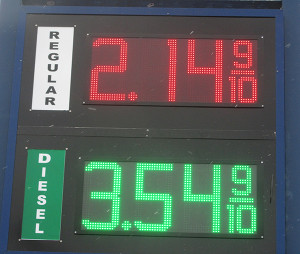 Gas prices fell in Cedar Springs fon Wednesday, December 17. This photo shows a price of $2.14 at Wesco, but it had fallen to $2.13 by the end of the day. Photo by J. Reed.