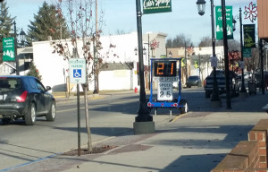 This radar speed sign showed people how fast they were traveling down Main Street in Cedar Springs last week. The speed limit is 25 mph. Photo by S. Reed.