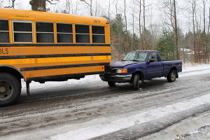 A truck ran into the back of a school bus last week in Pierson Township.