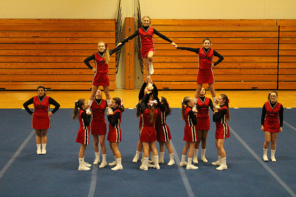 The Cedar Springs Middle School Cheer teams competed at Sparta last week. The red team took first, and the white team (shown above) took 4th place.