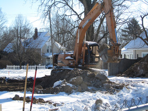 Digging began this week on a new house to be built at 40 E. Maple. Post photo by J. Reed.