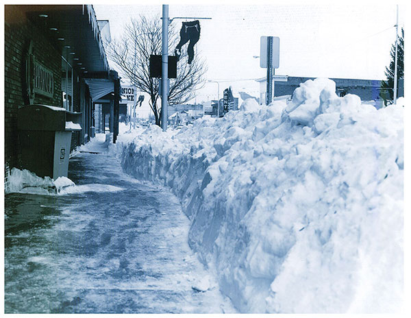 This photo, taken by Ed Bremer, shows the snow on Main Street in Cedar Springs after the 1978 blizzard.