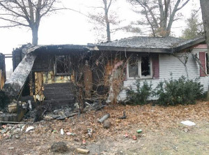 This fire in Oakfield Township burned the home of the Doug and Tonia Zain family on New Year's Eve. Courtesy Photo