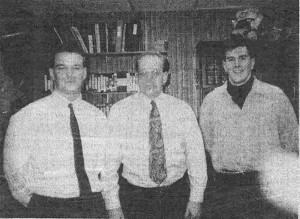This newspaper clipping shows Jason VanDyke (far right) when he was first hired on as a part time officer with the City of Cedar Springs 22 years ago. On the left is Officer Scott Brown, and in the middle is former Chief Marv Weinrich.