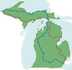 Michigan's Iron Belle Trail will feature a bicycling route (shown in red) and a hiking route (shown in blue), utilizing many existing trails to provide healthy recreation opportunities and connect and showcase Michigan's vibrant communities.