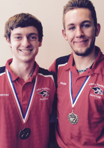 Red Hawk bowlers Trevor Ruark (left) and Blake Fisk (right) won medals for top high scores at East Kentwood.
