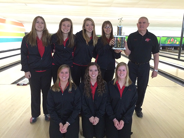 The Cedar Springs Girls Bowling team took first place at the Catholic Central Invitational. Pictured is: Back row: (L to R) Bre Feikema, Allyson Marvel, Rebecca Williams, coach Heidi Feikema, and coach Roger Filut. Front row: (L to R) Emma Schut, Tamara Tiethoff, Julie Schut.