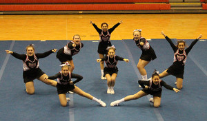 Cedar Springs JV Cheer took first-place at the Cedar Springs invitational.