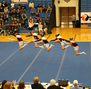 The JV Cheer team took seventh in their division at Hudsonville, but beat their highest scores of the season.