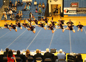 The CS Varsity Cheer team took second in their division at Hudsonville.