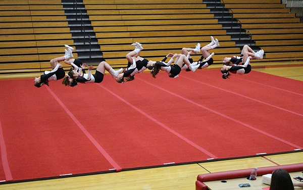 Cedar Springs Varsity Cheerleaders in their winning routine.