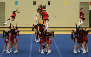 Cedar Springs Middle School's red cheer team took first place at Coopersville and remains undefeated this season.