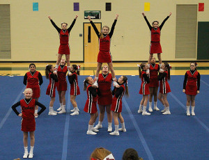 Cedar Springs Middle School's white cheer team took third place at Coopersville.