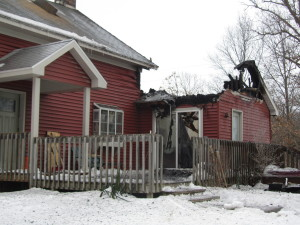 This  home in Solon Township was damaged in a fire early Monday morning. Post photo by J. Reed.